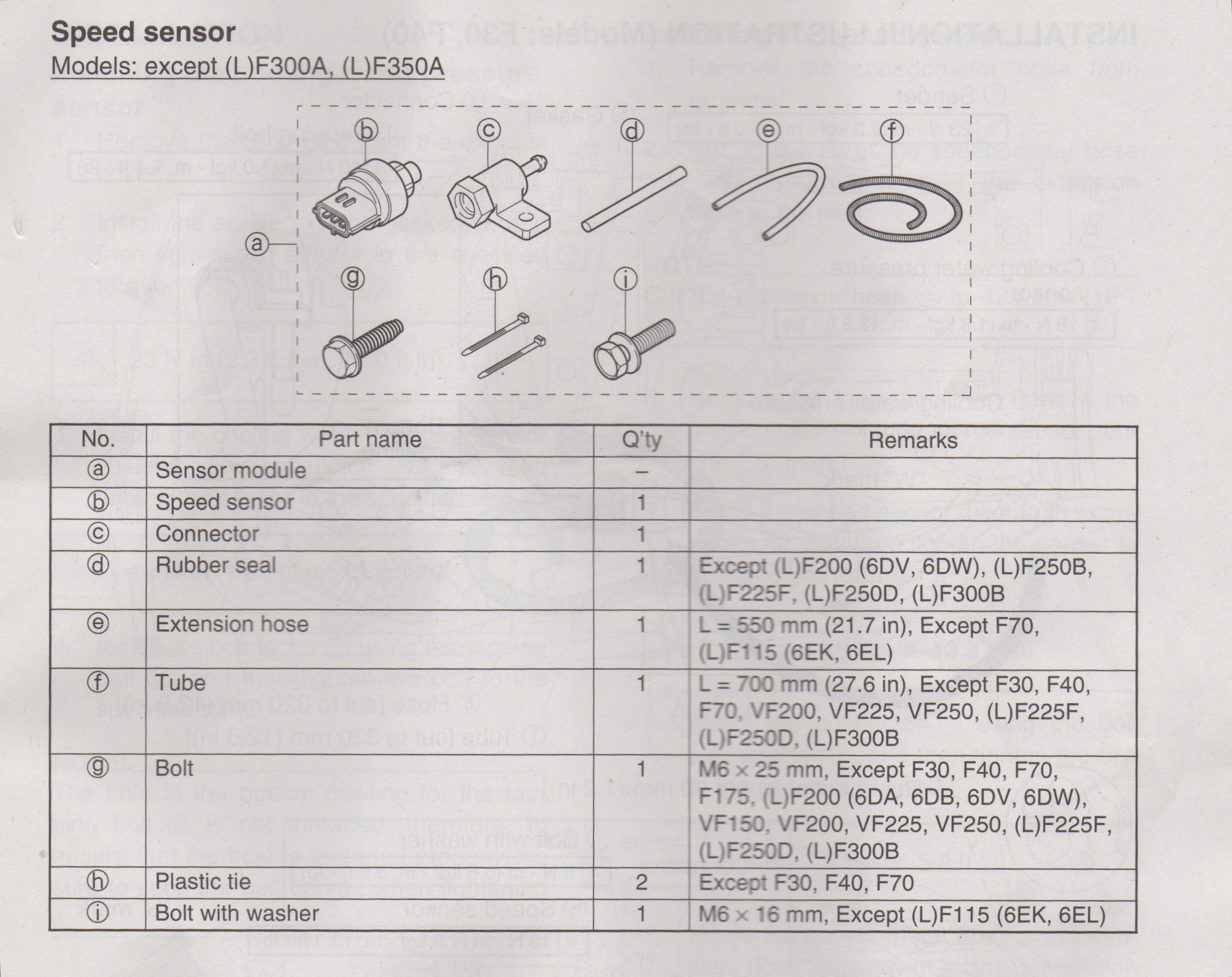 yamaha water pressure speed sensor kit