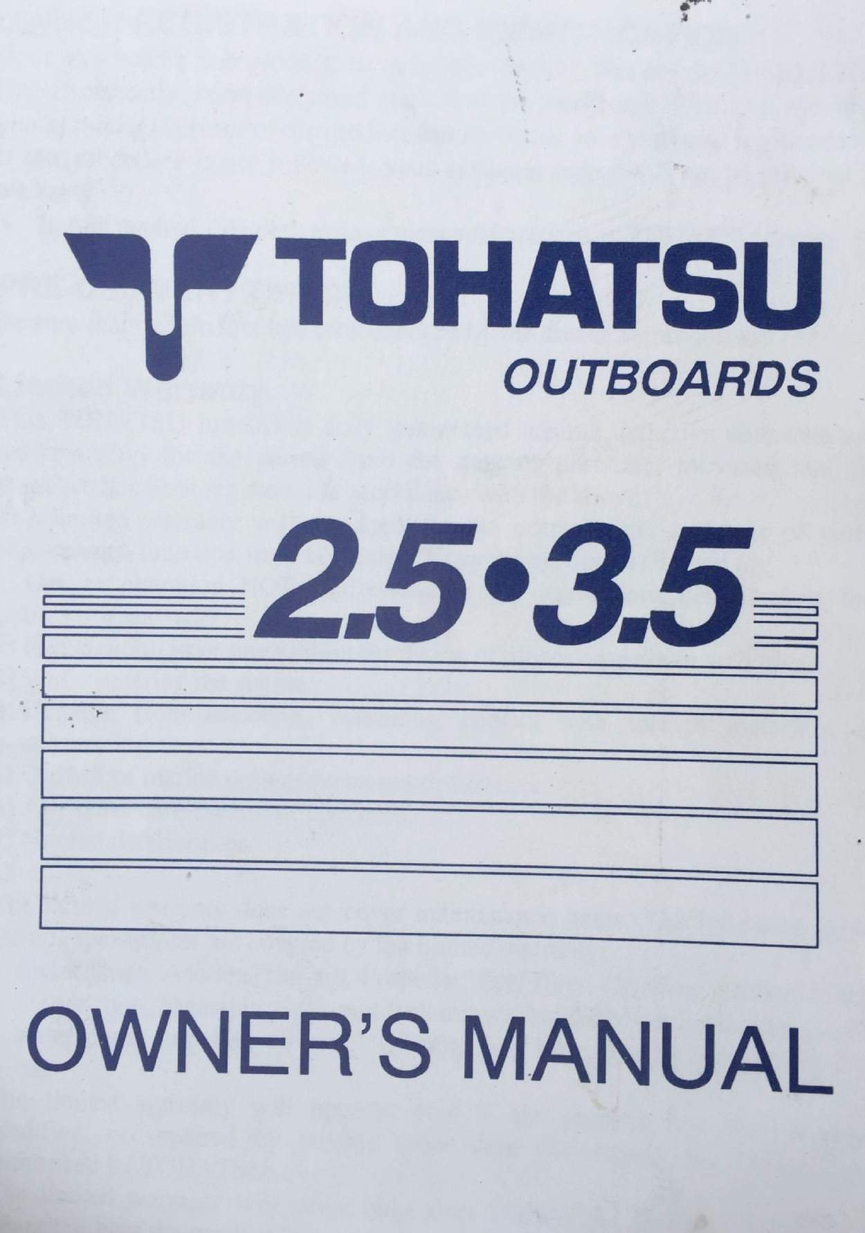 Tohatsu Outboard 2 5 3 5hp Owner S Manual